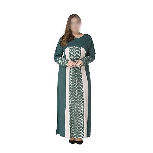Easy Go Shopping Frauen kleiden Spitze-Farben-Block-Kaftan-moslemisches islamisches Abaya-Maxi-Kleid Kleidung und Hose (Farbe : Grün, Size : XXXL) -