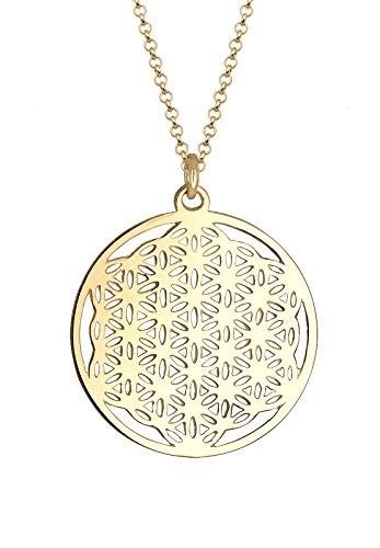 Elli Damen Schmuck Halskette Extra Lange Kette Ornament Lebensblume Münze Silber 925 Vergoldet Länge 70 cm