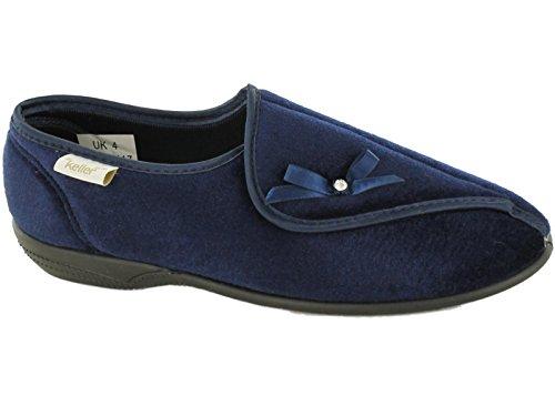 Pantuflas Dr Keller, para mujer, anchas y ortopédicas, para personas con diabetes, con ajuste de velcro y forro, color Azul, talla 39