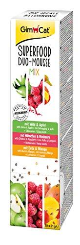 GimCat Superfood Duo-Mousse Mix mit Wild, Hühnchen und Ente - Katzensnack aus fleischiger Mousse mit Vitaminen - ohne Zuckerzusatz - 1 Packung (10 x 21 g) -