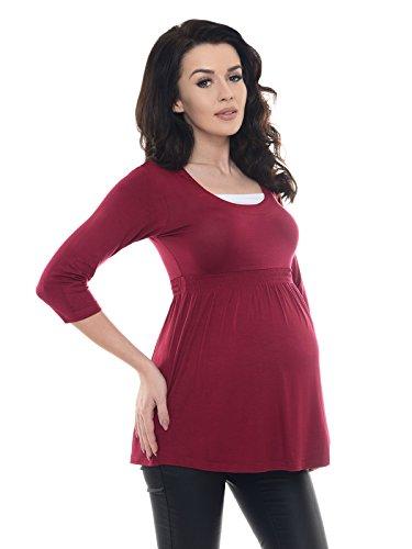 Purpless Maternity Damen 3/4 Arm Schwangerschaft Tunika D5200 Burgundy