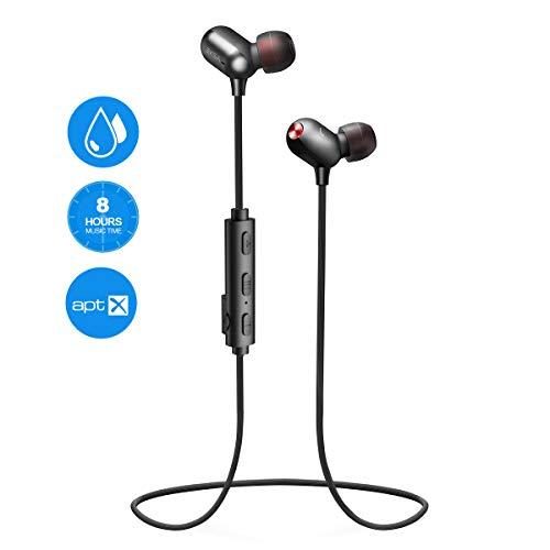 EKSA Bluetooth Kopfhörer in Ear, Kopfhörer Sport V4.2 mit AptX / 8 Stunden / IPX7 Schweißresistent/Mikrofon CVC Lärmreduzierung, Kabellos Magnetisch Headset Kopfhörer, Bloothooth Kabellos (Schwarz)