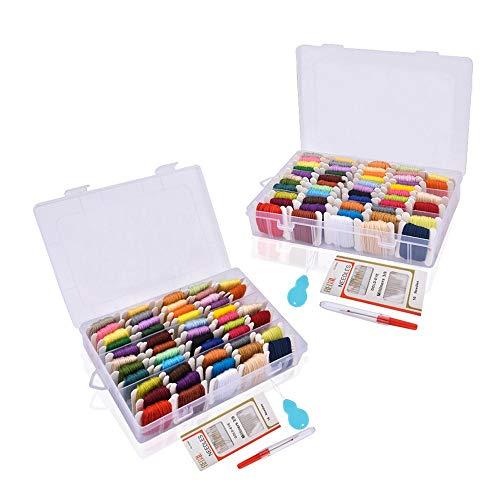 Kit de Inicio de Bordado, kits de punto de cruz Hisome para principiantes con 2 cajas de almacenamiento, 100 hilos Skeins 50 de color y herramientas de punto de cruz