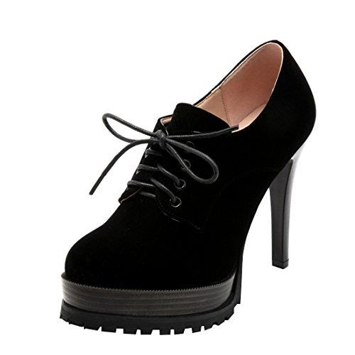 Agodor Damen High Heels Pumps mit Schnürung Plateau Stiletto 10cm Absatz Schuhe