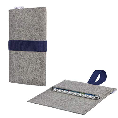 Tablet Tasche AVEIRO mit Filzdeckel und Gummiband für Blaupunkt Endeavour 1100 - Schutz Case Etui Sleeve Filz Made in Germany hellgrau dunkelblau - passgenaue Tablethülle für Blaupunkt Endeavour 1100