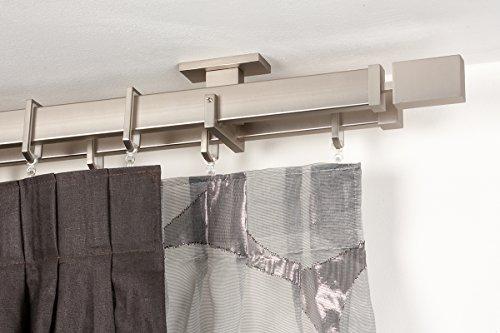InCasa Double Tringle á Rideaux: 31 x 12 mm, L. 260 cm. en Acier satiné - Complet