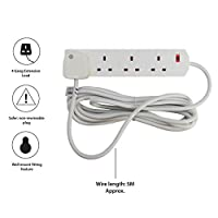 PIFCO 4 Way UK 3Pin Plug 13amp Extension Lead with 5 Metre Cable - Neon Power On Indicator - White