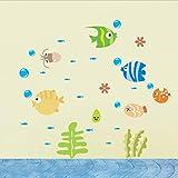 Namefeng Cartoon Fisch Wandaufkleber Niedlichen Fisch Im Meer Kinderzimmer Wandaufkleber Für Kinderzimmer Badezimmer Aufkleber Wohnkultur Aufkleber