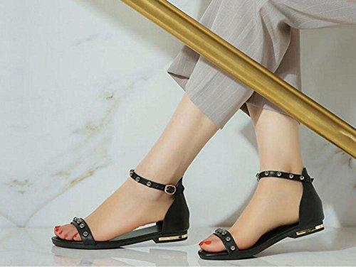 SHINIK Open Toe Leder Schuhe Beaded Flat Bottom Sandalen Beach Post Sandalen Flip Flops Flache Schuhe Große Schuhe Black