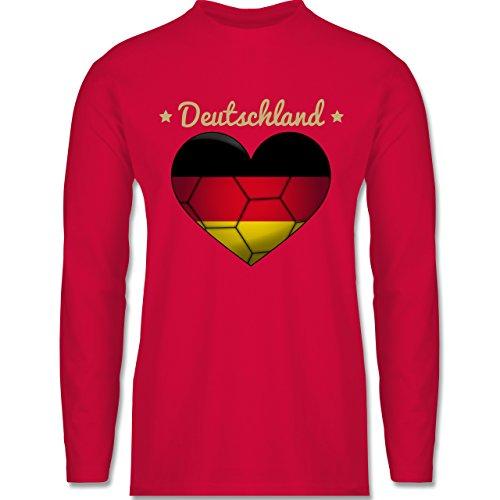 Shirtracer Handball - Handballherz Deutschland - Herren Langarmshirt Rot