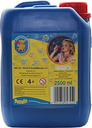 Pustefix- Burbujas de jabón Botella de Recambio de 2.5l, Color Azul (869745)