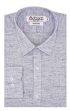 Arihant Men's Plain Cotton Linen Full Sleeves Regular Fit Formal Shirt (AR791102_Blue_38)