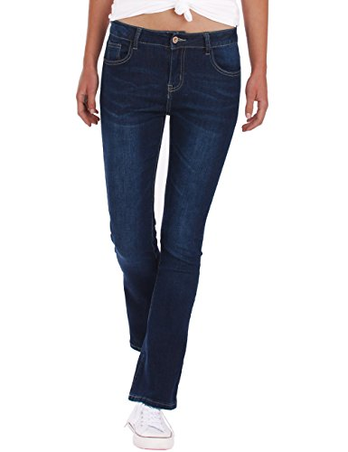 Fraternel Damen Jeans Hosen Bootcut normal Waist Stretch Dunkelblau L / 40 - W31 - Low Rise Flare Stretch Jeans