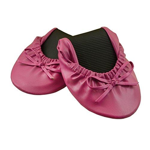 Your Solemates Ballerines de danse pour femme pliables et sac pour le transport Fuchsia