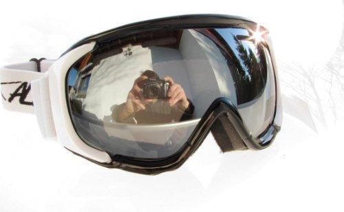 Alpland SKIBRILLE SNOWBOARDBRILLE GLÄSER SILBER VERSPIEGELT!HELMKOMPATIBEL ANTIFOG DOPPELSCHEIBE NEUHEIT!