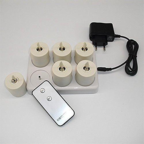 Juego de 6mecha móviles recargables té luz LED vela sin llama con temporizador y mando a distancia
