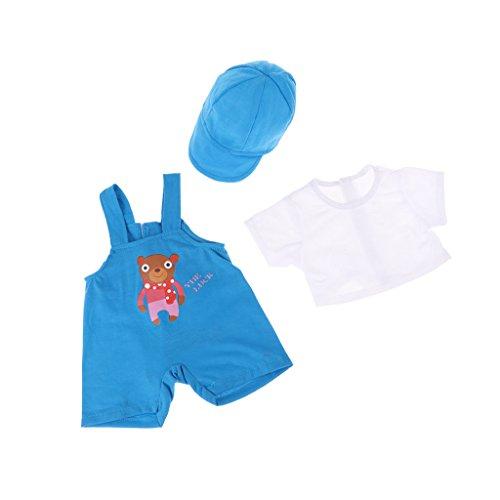 MagiDeal Mode Dreiteilige Puppenkleidung Anzug - T-Shirt + Hosenträger Hose + Kappe - Blau