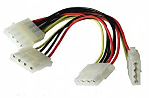 kenable 3 Way 4 pin PSU Power Splitter Cable LP4 Molex 1 to 3 Lead 15cm