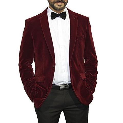 Men's Maroon Velvet Single Breasted Blazer Suit Jacket (UK 38/EU 48)