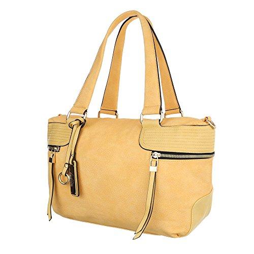 Damen Schultertasche Handtasche Tragetasche Shopper Elfenbein Schwarz Blau Grau Rot Weiß Gelb Gelb