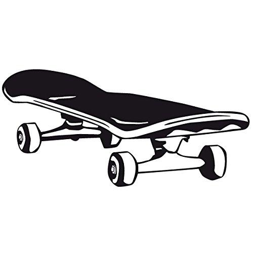Wadeco Skateboard Wandtattoo Wandsticker Wandaufkleber 35 Farben verschiedene Größen, 98cm x 47cm, pastellorange