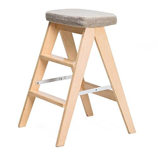 KSUNGB Klappbarer Stuhl aus Holz Schemel Massivholz Stephocker Küchenhocker Essensstuhl Balkon Schüler Büro Lounge-Sessel Faltbar Holzleiter Dreiecksstruktur Waschbar Leinen, Wood Color, A -