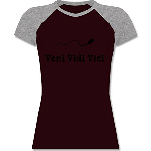 Symbole - Veni Vidi Vici - zweifarbiges Baseballshirt / Raglan T-Shirt für Damen Burgundrot/Grau meliert