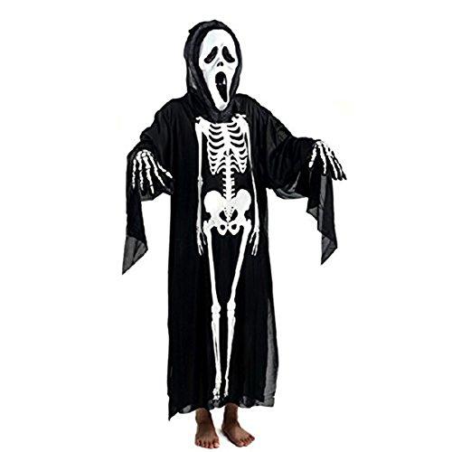 BulzEU Skelett Anzug Halloween Ghost Schädel Knochen Kostüm Scary Halloween Kostüm Cosplay Outfit Halloween Tunika Robe für Erwachsene Kind - Cosplay Party (Adult)