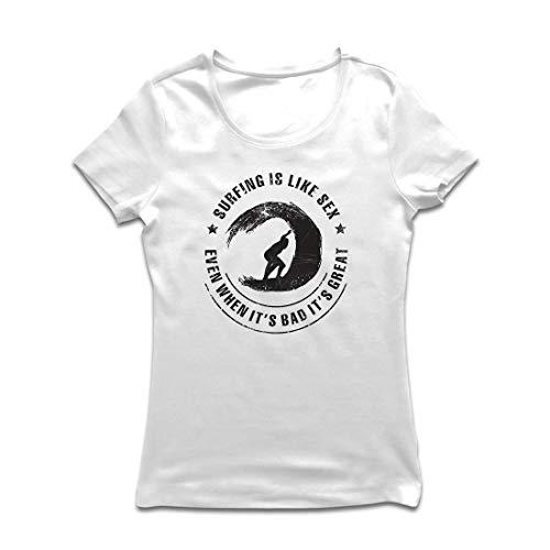 lepni.me Frauen T-Shirt Surfen ist wie Sex, inspirierender Humor Geschenk für Surfer (Small Weiß Mehrfarben)