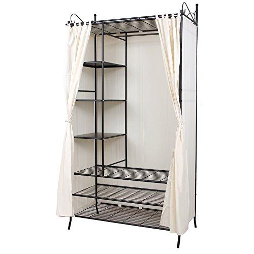 Songmics armadio cabina guardaroba appendiabiti in acciaio con copertura 210 x 58 x 108 cm rtg04h