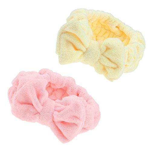 Sharplace 2pcs Bowknot Make-up Kosmetische Dusche Bad Spa Elastisches Haarband Stirnband
