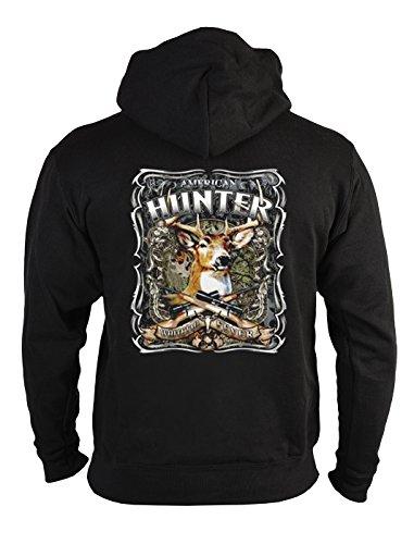 Zip-Hoodie mit Rückenmotiv: American Hunter - Jagtmotiv, Hirsch - Geschenk - Kapuzen Hoody mit Reißverschluss - Farbe: schwarz Hunter Zip Hoodie