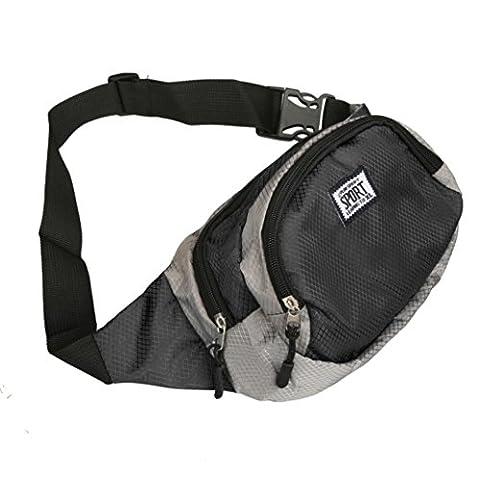 Kingko® Running Bum Bag Outdoor Sport Travel Handy Hiking Sport Waist Bag Fanny Pack Waist Belt Zip Pouch Bag (Black)