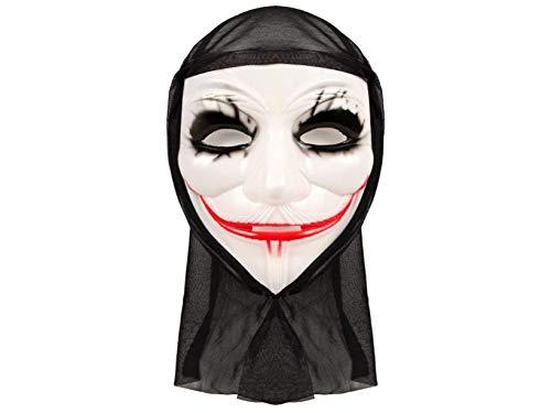 r Joker Maske mit schwarzen Augen Kapuze ()