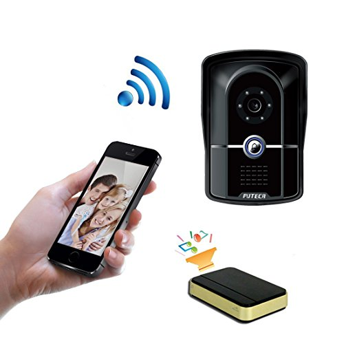 PUTECA Smart Home Wireless 2.4G WiFi Doorbell 700TVL 5 IR LED Night Vision Camera WiFi Remoter 3G/4G Android/IOS OS Mobile phone APP Control P2P Cloud Service IP Video Door Phone Home Security Intercom System Come with indoor 433MHz Dingdang Doorbell