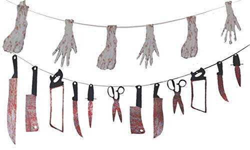 FT.Sky Halloween Zombie Party Dekorationsset - blutige Halloween Waffen Girlande Requisiten Garland