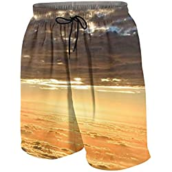 Herren Badehose Sky Sunset Wallpaper Novelty Beach Board Shorts mit Tasche Gr. L/XL, Mehrfarbig