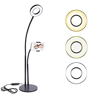 Imikoko 2 in 1 Live Broadcast Stand, Cell Phone Holder with Selfie Ring Light for Live Stream, Video Chat, 3-Level Brightness Selfie Light, 360 Rotating Flexible Long Arms Mount for Smartphone