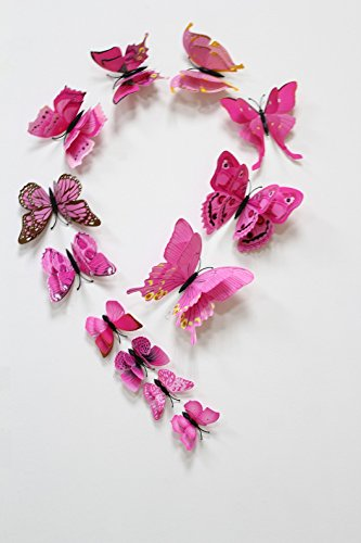 FiveRen 12 Stück 1 Packung Doppelte Flügel 3D Schmetterlings Wand Aufkleber, Lebendiger Kühlschrank Magnet Ausgangsdekor Kunst Applique DIY Fertigkeiten Entfernbar für Babys Schlafzimmer Fernsehhintergrund Wohnzimmer, Rosa (Applique Rosa Schmetterling Stück 2)