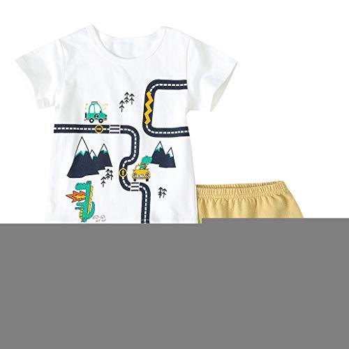Yesmile Junge Baumwolle Kurzarm T-Shirt und Shorts Cartoon-Muster Bekleidungsset Set Bass Camouflage Cap