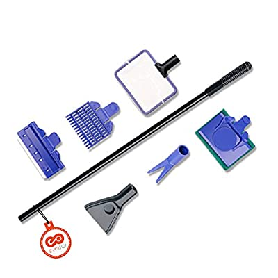 5 in 1 Aquarium Fish Tank Cleaning Kit Fish Net, Gravel Rake, Algae Scraper, Fork, Sponge Tools Set