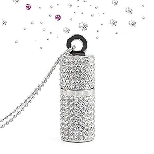Hunterace - collana con ciondolo a forma di rossetto, con brillantini e chiavetta usb ad alta velocità, in confezione regalo (3 colori) argento 64 go