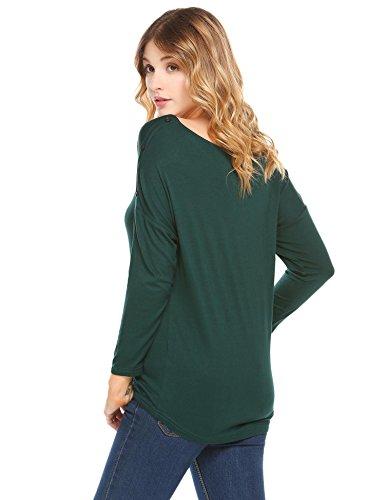 Damen Shirt Langarmshirt mit Rundhalsausschnitt Langarm T-Shirt Rundhals Sweatshirt Oberteil Thermoshirt Dunkelgrün