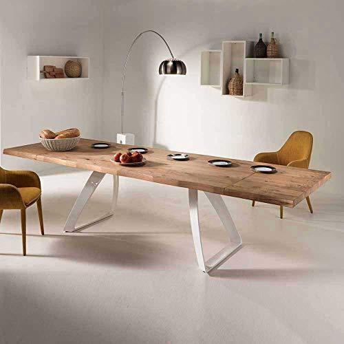 Pharao24 Designertisch mit Baumkante aus Eiche Weiß Metall