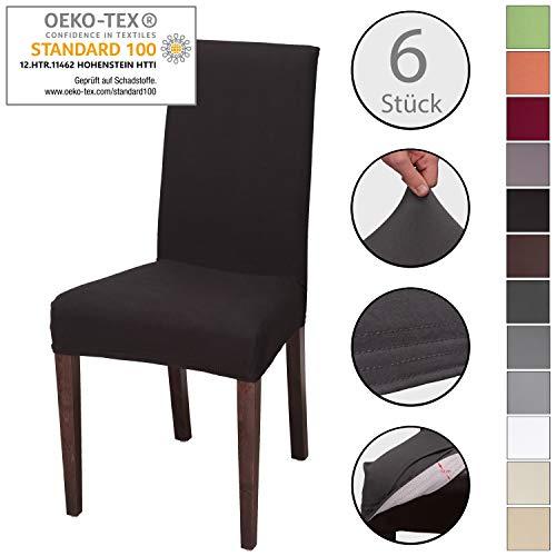 Staboos 6er Set, Stretch Universell Stuhlhusse, Stuhlbezug aus 96% Baumwolle pflegeleicht und bügelfrei, Schwarz -