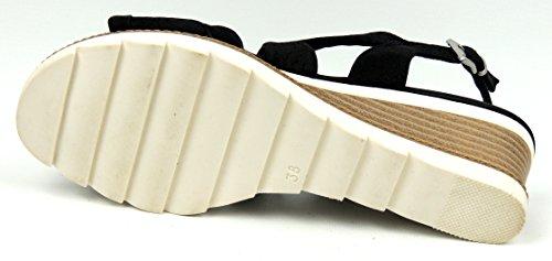 Marco Tozzi sandales femme Courroie en cuir noir semelle gel Noir - Black Antic