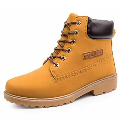 Men's Genuine Leather Lace Up Casual Shoes yellow B
