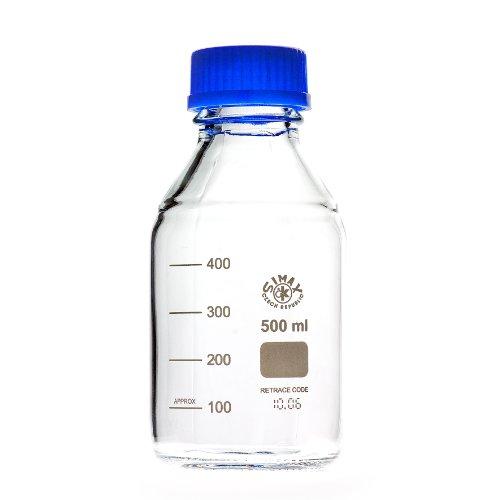 Laborgewindeflaschen mit blauer Kappe und Ring 500 ml