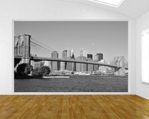Bilderdepot24 Papier Peint intissé Pont New York - Noir et Blanc 155x100 cm - pâte Inclus - Vente directe Fabricant!