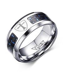 Idea Regalo - Vnox Uomo in acciaio inox Blue Carbon Fibre scudo della fede fascia della traversa anello nero,Larghezza 8 millimetri